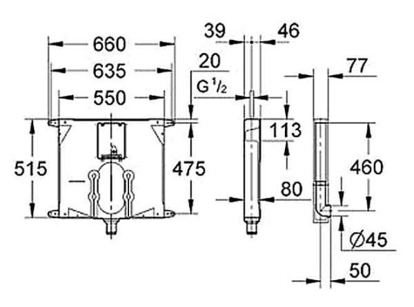GROHE 38863 - Καζανάκι μπάνιου - διαστάσεις