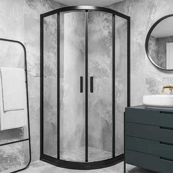 Καμπίνα μπάνιου AMERICA NERA ημικυκλική μαύρο πλαίσιο