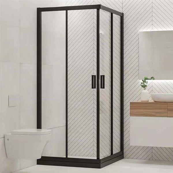 Καμπίνα μπάνιου NERA SQUARE γωνιακή μαύρο πλαίσιο