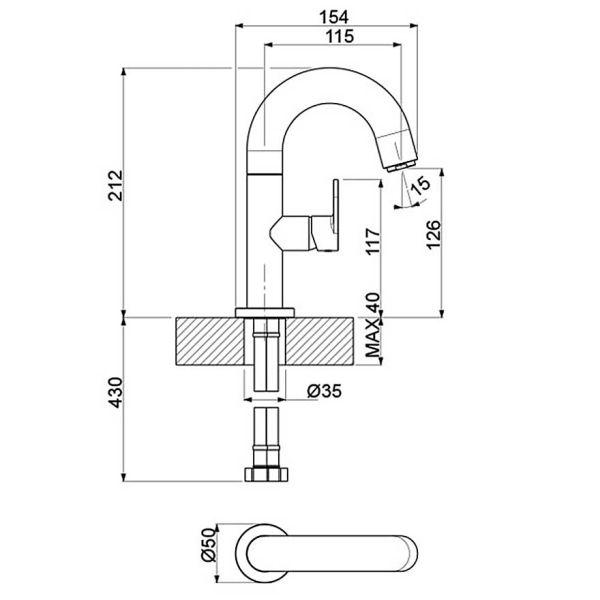 VICARIO SLIM 500010-100 - Μπαταρία μπάνιου - διαστάσεις