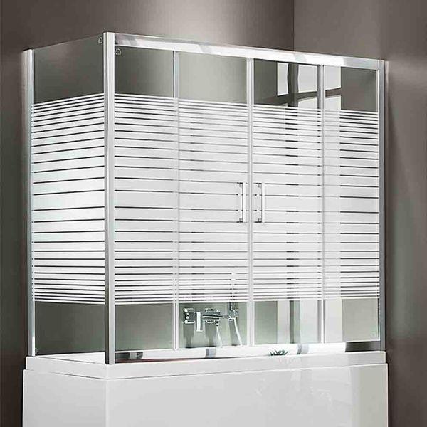 AXIS BATH SLIDER 2-2 SLBX SIDE - Καμπίνα μπανιέρας τοίχο-τοίχο 4-φύλλων με πλαινο