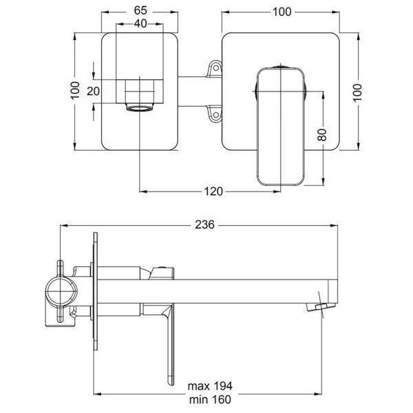 EURORAMA QUADRA 144904 - Μπαταρία μπάνιου νιπτήρα τοίχου-διαστάσεις