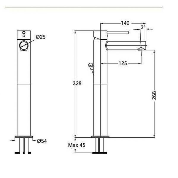 EURORAMA TONDA 145310P BLACK - Μπαταρία μπάνιου νιπτήρα-διαστάσεις