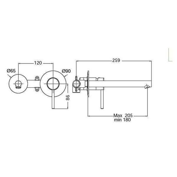 EURORAMA TONDA 145904  - Μπαταρία μπάνιου νιπτήρα τοίχου-διαστάσεις
