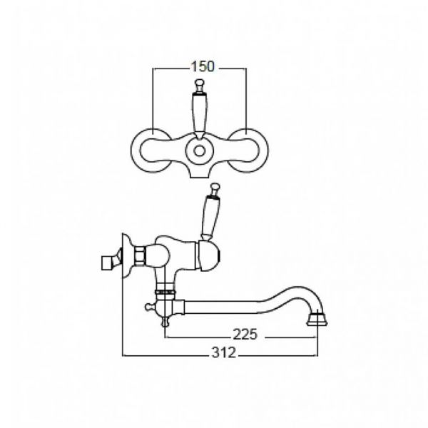 BUGNATESE OXFORD 6340 BRONZE - Μπαταρία νεροχύτου τοίχου-διαστάσεις