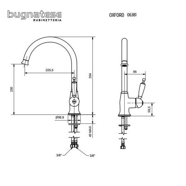 BUGNATESE OXFORD 6381 BRONZE - Μπαταρία νεροχύτου-διαστάσεις