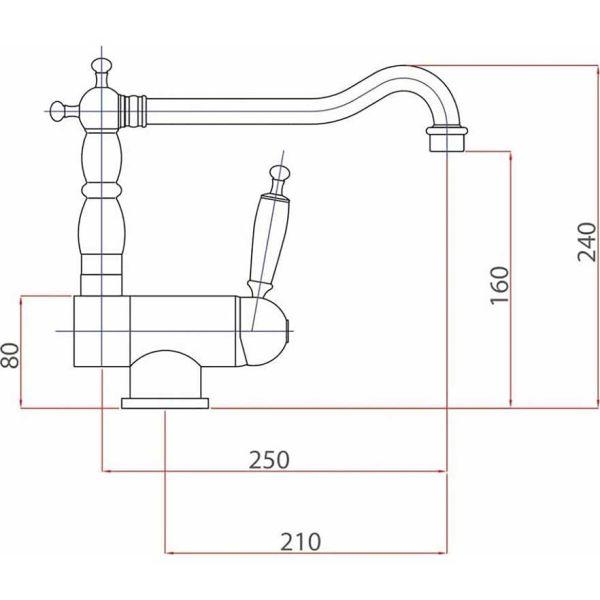 BUGNATESE OXFORD 7596 - Μπαταρία νεροχύτου ανακλινόμενη-διαστάσεις