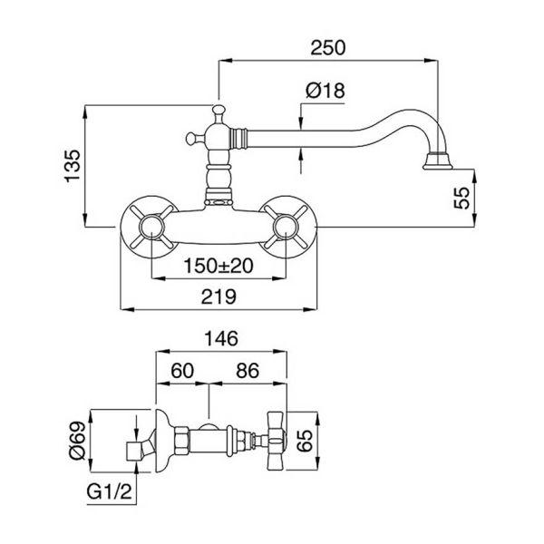 BUGNATESE PRINCETON 852 BRONZE - Μπαταρία νεροχύτου τοίχου-διαστάσεις