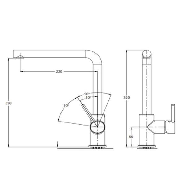EURORAMA TONDA 145515 - Μπαταρία κουζίνας νεροχύτη-διαστάσεις