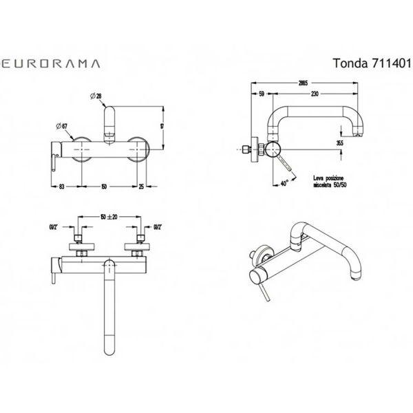 EURORAMA TONDA 711401 - Μπαταρία κουζίνας τοίχου-διαστάσεις
