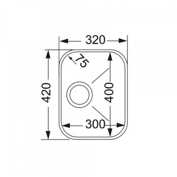 APELL 8430 - Νεροχύτης κουζίνας ανοξείδωτος-διαστάσεις