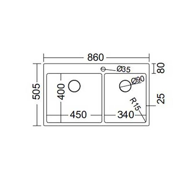 FORTINOX SQUADRO 29285 - Νεροχύτης κουζίνας ανοξείδωτος-διαστάσεις