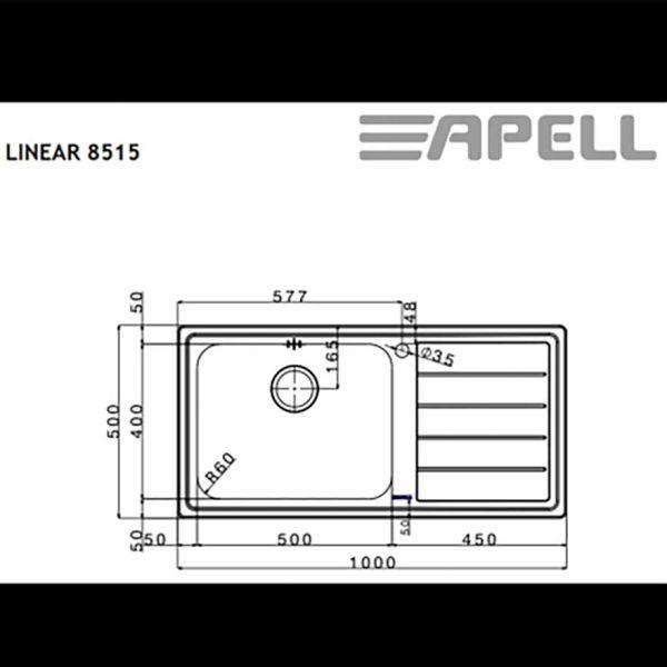 LINEAR 8515 - Νεροχύτης κουζίνας ανοξείδωτος-διαστάσεις