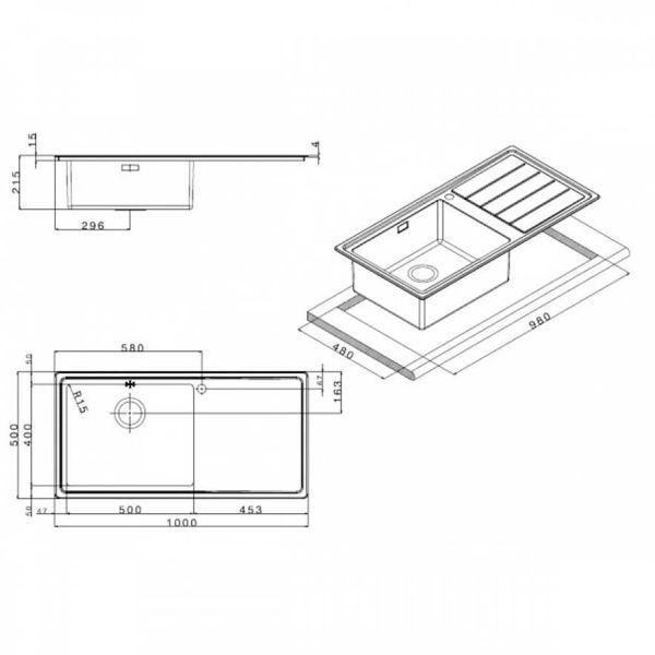 APELL LINEAR PLUS LNP1001 - Νεροχύτης κουζίνας ανοξείδωτος-διαστάσεις