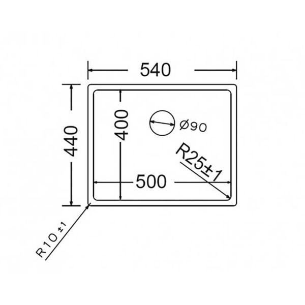 FORTINOX SQUADRO 28055 - Νεροχύτης κουζίνας ανοξείδωτος-διαστάσεις