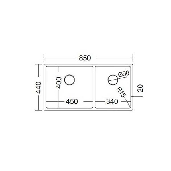FORTINOX SQUADRO 28285 - Νεροχύτης κουζίνας ανοξείδωτος-διαστάσεις