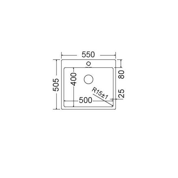 FORTINOX SQUADRO 29055 - Νεροχύτης κουζίνας ανοξείδωτος-διαστάσεις