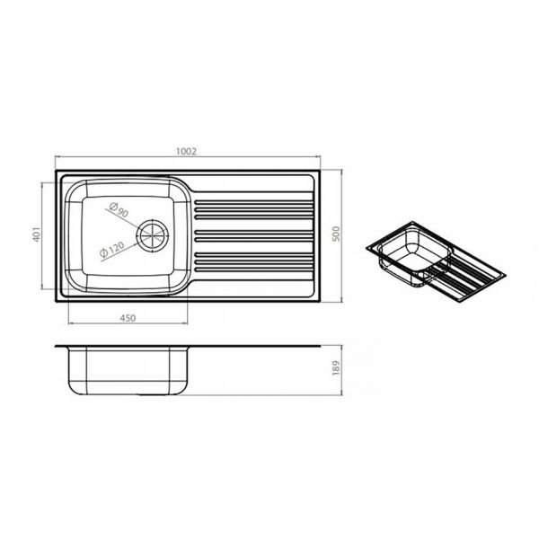 FORTINOX VALLEY 25110 - Νεροχύτης κουζίνας με 1 γούρνα & ποδιά-διαστάσεις