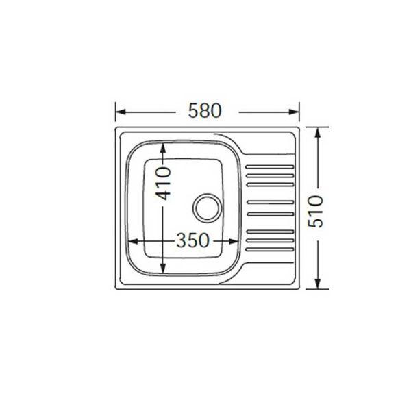 FORTINOX VALLEY 25150 - Νεροχύτης κουζίνας με 1 γούρνα & ποδιά-διαστάσεις