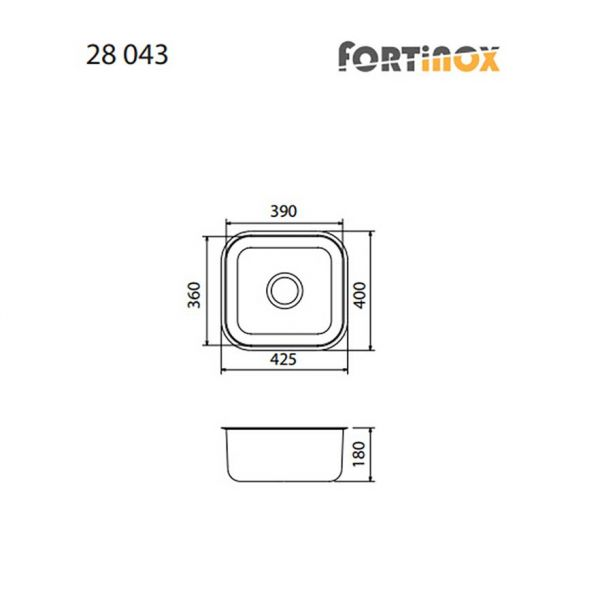 FORTINOX VALLEY 28043 - Νεροχύτης κουζίνας με 1 γούρνα-διαστάσεις