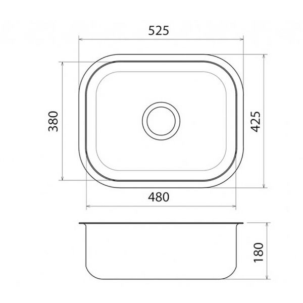 FORTINOX VALLEY 28053 - Νεροχύτης κουζίνας με 1 γούρνα-διαστάσεις