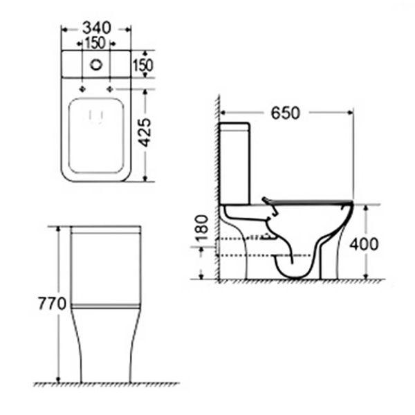 BIANCO CERAMICA DELIA RIMLESS 65 - Λεκάνη μπάνιου - διαστάσεις