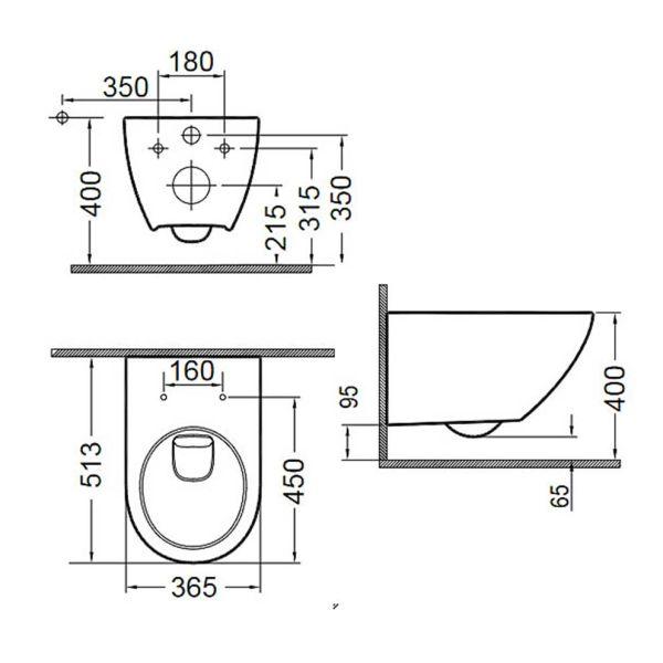 BIANCO CERAMICA REMO RIMLESS 52 - Λεκάνη μπάνιου - διαστάσεις