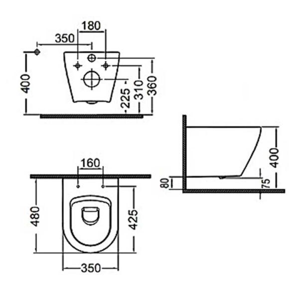 BIANCO CERAMICA VITO 48 - Λεκάνη μπάνιου - διαστάσεις