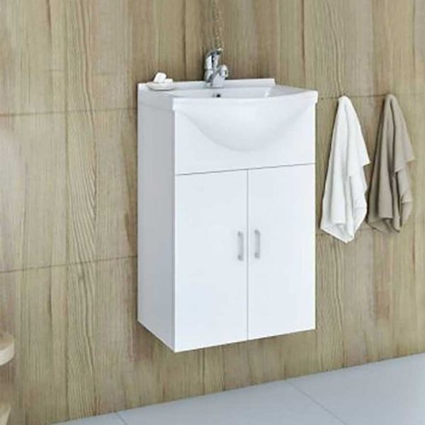DROP ALBA 45 BASE WHITE - Έπιπλο μπάνιου με νιπτήρα κρεμαστό