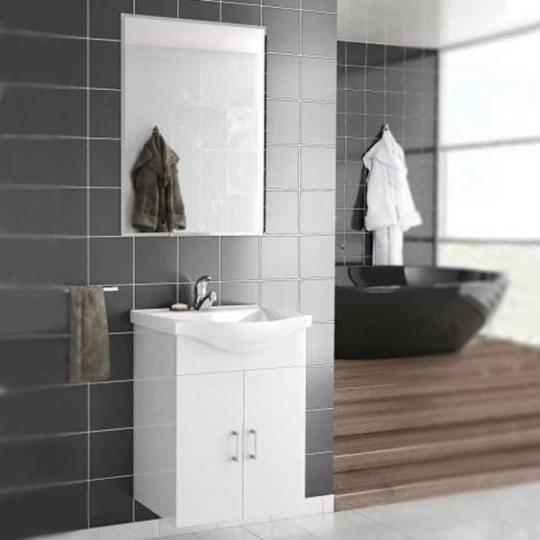 DROP ALBA 55 MIRROR WHITE - Έπιπλο μπάνιου κρεμαστό λευκό πλήρες