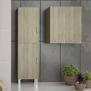 DROP ALBA WOOD - Στήλη μπάνιου και ντουλάπι μπάνιου