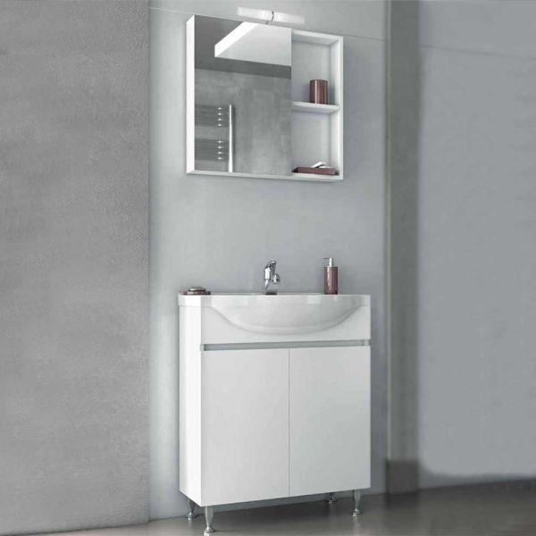 Έπιπλο μπάνιου ALFA-65 λευκό δαπέδου πλήρες
