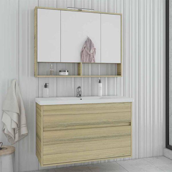DROP INSTINCT 100 NATURAL OAK - Έπιπλο μπάνιου κρεμαστό πλήρες σετ