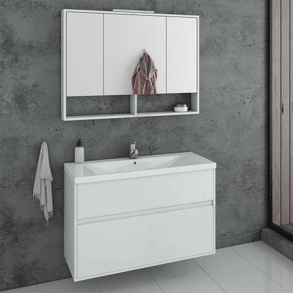 DROP INSTINCT 100 WHITE - Έπιπλο μπάνιου κρεμαστό πλήρες σετ