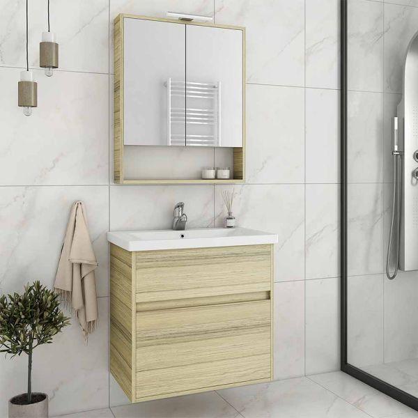 DROP INSTINCT 55 NATURAL OAK - Έπιπλο μπάνιου κρεμαστό πλήρες σετ