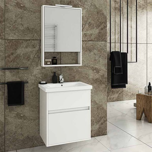 DROP INSTINCT 55 WHITE - Έπιπλο μπάνιου κρεμαστό πλήρες σετ