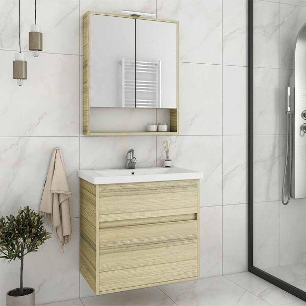 DROP INSTINCT 65 NATURAL OAK - Έπιπλο μπάνιου κρεμαστό πλήρες σετ