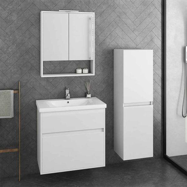 DROP INSTINCT 65 WHITE - Έπιπλο μπάνιου κρεμαστό πλήρες σετ