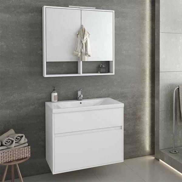 DROP INSTINCT 80 WHITE - Έπιπλο μπάνιου κρεμαστό πλήρες σετ