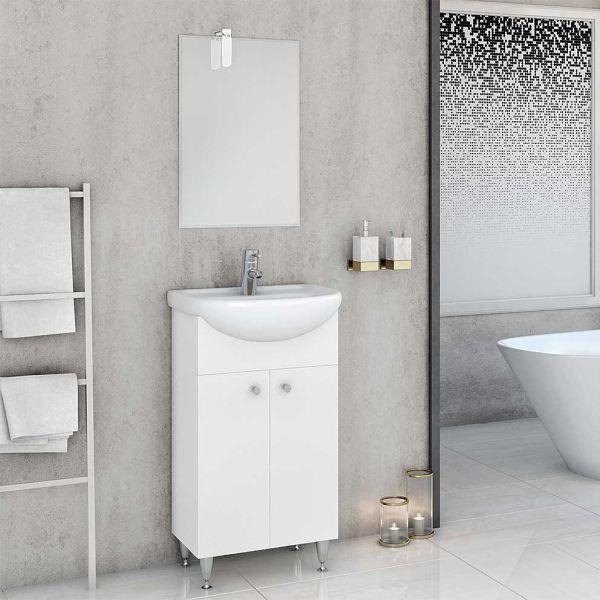 Έπιπλο μπάνιου OLYMPUS-50 λευκό δαπέδου πλήρες