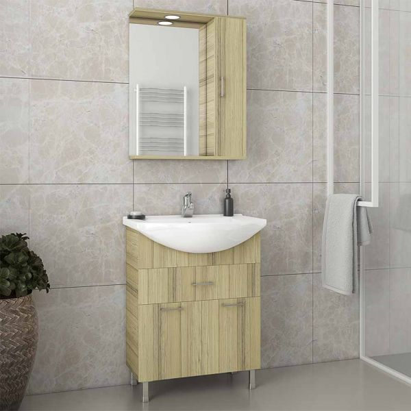 DROP RITMO 65 NATURAL OAK - Έπιπλο μπάνιου δαπέδου πλήρες σετ