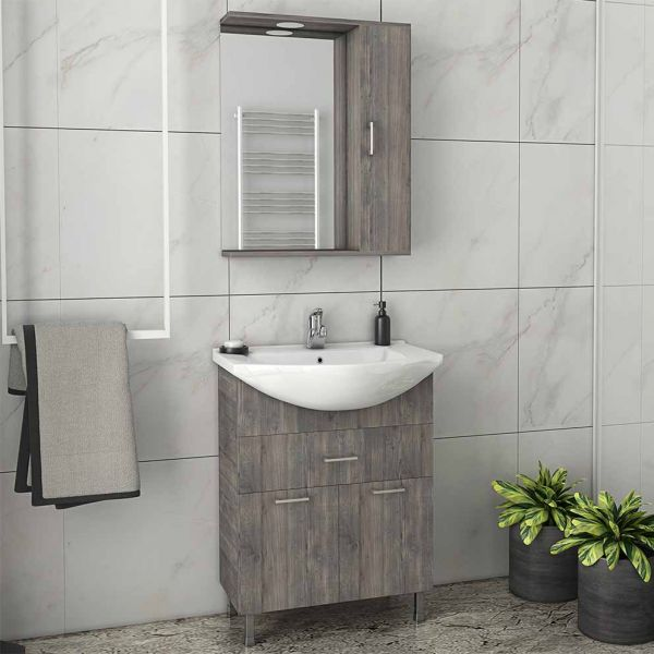 DROP RITMO 65 SMOKED - Έπιπλο μπάνιου δαπέδου πλήρες σετ