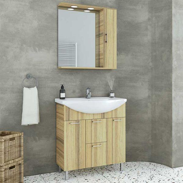 DROP RITMO 75 NATURAL OAK - Έπιπλο μπάνιου δαπέδου πλήρες σετ