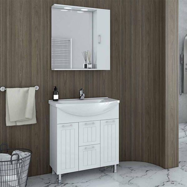 DROP RITMO 75 WHITE - Έπιπλο μπάνιου δαπέδου πλήρες σετ