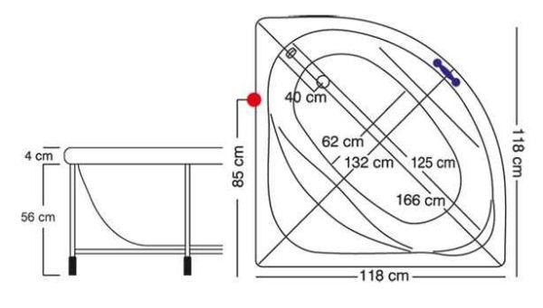 Μπανιέρα γωνιακή ELIXIS - διαστάσεις