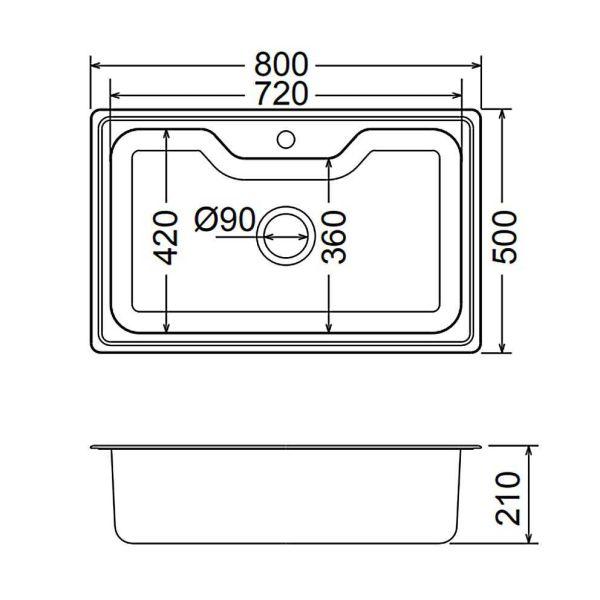 FORTINOX ARENA 22080 - Νεροχύτης κουζίνας inox - διαστάσεις