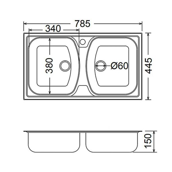 FORTINOX SLENDER 24200 - Νεροχύτης κουζίνας inox - διαστάσεις