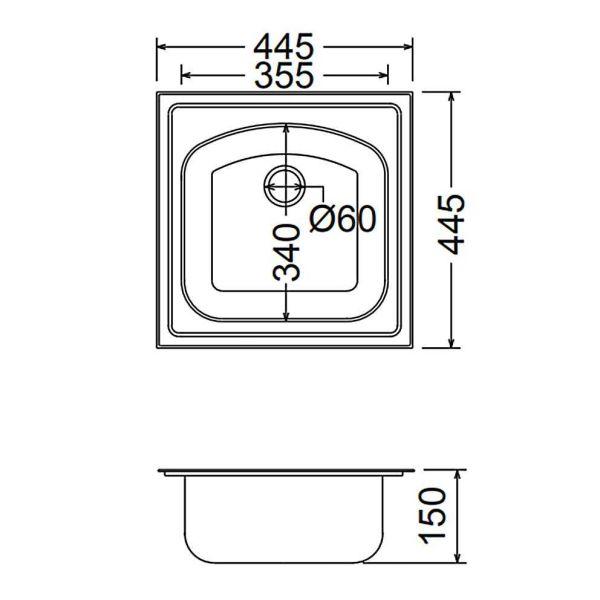FORTINOX VALLEY 24050 - Νεροχύτης κουζίνας inox - διαστάσεις