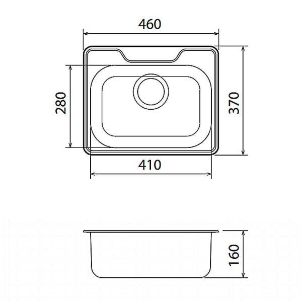 FORTINOX VALLEY 25046 - Νεροχύτης κουζίνας inox - διαστάσεις