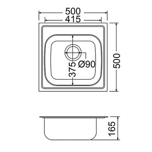 FORTINOX VALLEY 25050 - Νεροχύτης κουζίνας inox - διαστάσεις